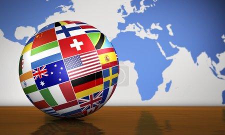 Photo pour Notion de services Commerce international gestion et voyage avec un globe avec drapeaux internationaux et la carte du monde sur fond. - image libre de droit