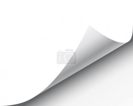 Illustration for Page curl with shadow on a blank sheet of paper, design element for advertising and promotional message isolated on white background. EPS 10 vector illustration. - Royalty Free Image