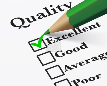 Illustration for Quality control survey business products and customer service checklist with excellent word checked with a green check mark EPS 10 vector illustration. - Royalty Free Image