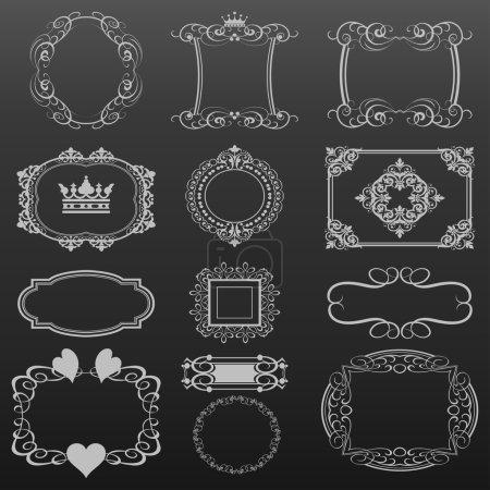 Decorative elements. Set of calligraphic vintage frames for design. Vector image.