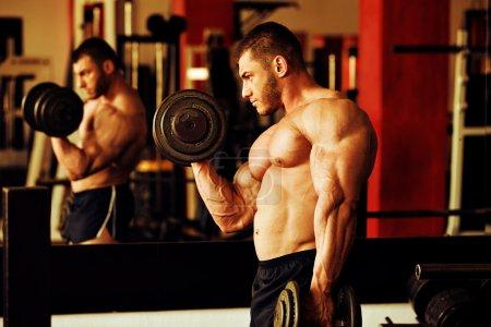 Bodybuilder training gym