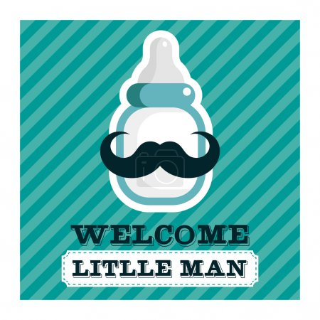 Illustration for Blue baby shower greeting card with mustache baby bottle - Royalty Free Image