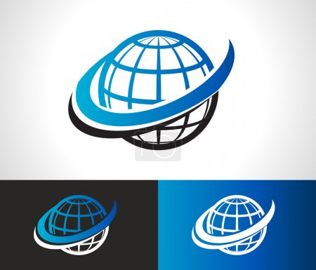 Illustration for World logo icon with swoosh graphic element - Royalty Free Image