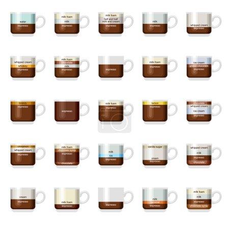 Illustration pour Infographie vectorielle avec types de café. Recettes, proportions. Menu café. Fond blanc - image libre de droit