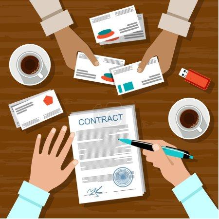 Illustration pour Image de la signature du contrat pour une réunion d'affaires.Illustration vectorielle - image libre de droit