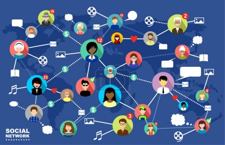 Illustration for The concept of social networks, internet and online communication. - Royalty Free Image