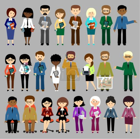 Illustration for Big set of vector business people with office items - Royalty Free Image