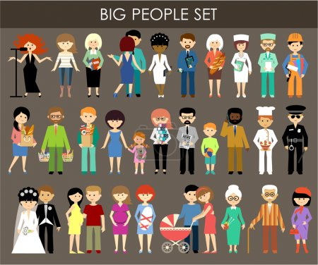 Set of people of different professions and ages.