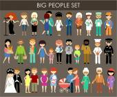 Set of people of different professions and ages