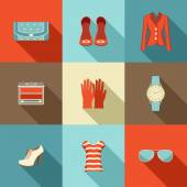 Fashion set in a style flat design Vector illustration