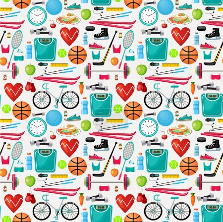 Illustration for Pattern of a healthy lifestyle. Vector illustration - Royalty Free Image