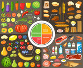 Set of products for healthy food Plate model Nutrients Vector illustration