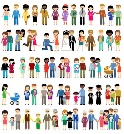 Illustration for Big set of family life in style flat design on a white background. Parents, children, grandmothers and grandfathers. Vector illustration - Royalty Free Image