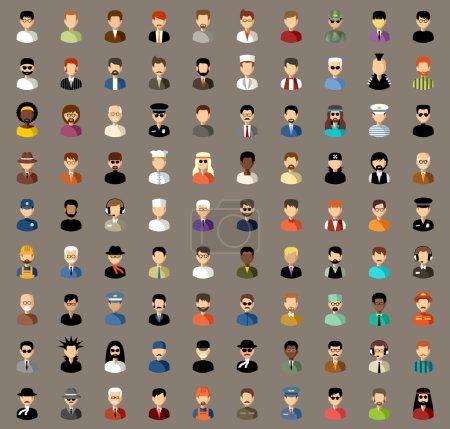 Photo pour Avatars vectoriels d'hommes de différentes professions dans différents vêtements - image libre de droit