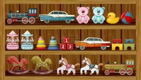 Illustration for Wooden show-window of shop with vintage toys. Vector illustration - Royalty Free Image