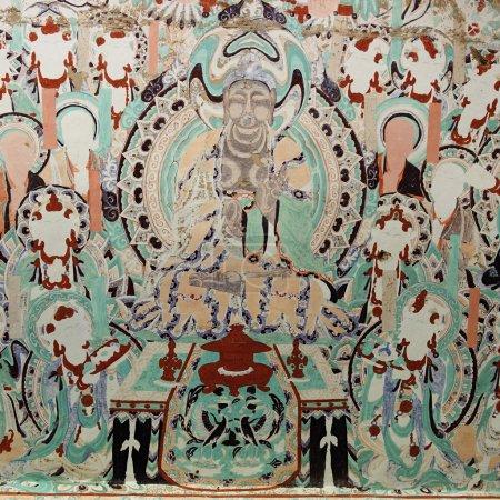 Photo pour Les fresques dans les grottes Mogao de Dunhuang - image libre de droit