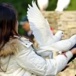 White dove and girl...
