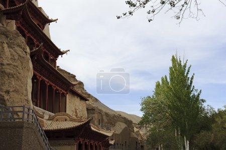 Photo pour L'architecture des grottes de Mogao à Dunhuang, en Chine - image libre de droit