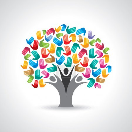 Illustration for Isolated tree made of diversity hands illustration. - Royalty Free Image