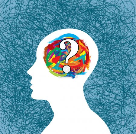 Illustration for Man thinking with question mark, brain idea - Royalty Free Image