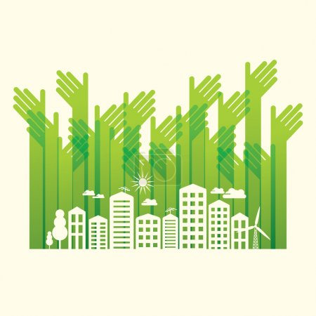 Illustration for Eco friendly hands and city concept - Royalty Free Image