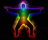 Rainbow master samurai with aura and chakras - silhouette