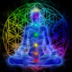Illustration of woman meditating, symbol flower of...