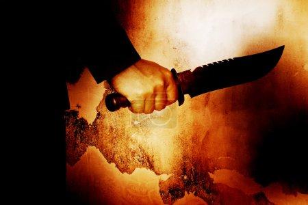 Horror scene of man with knife,Serial killer or violence concept background