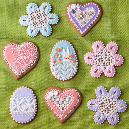 Photo for Home-baked and decorated Easter cookies. - Royalty Free Image