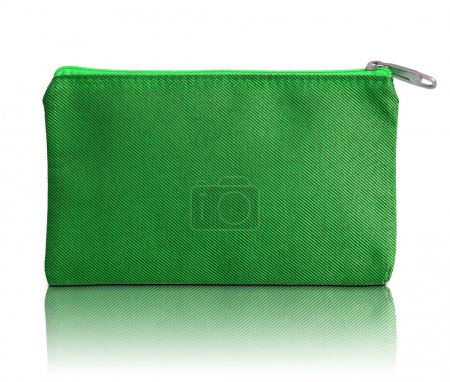 green fabric bag with zipper on white background