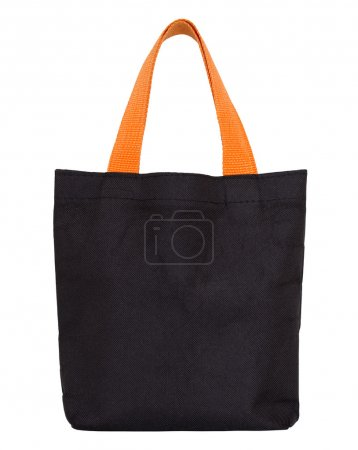 black fabric bag isolated on white with clipping path