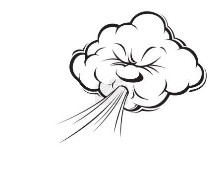 Illustration pour Dessin animé souffle le vent. croquis, ligne, livre à colorier - image libre de droit