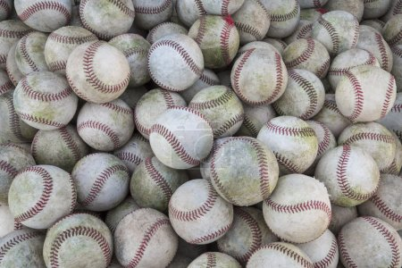 A large pile or group of baseballs