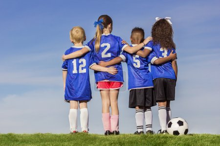 Group of Diverse young soccer players