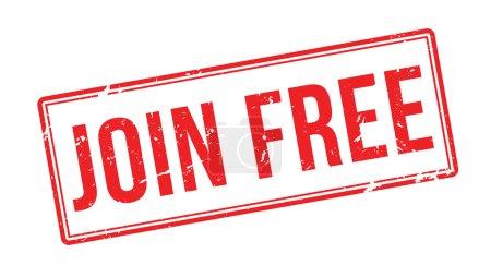 Illustration pour Joignez-vous gratuitement tampon en caoutchouc rouge sur blanc. Imprimer, impressionner, surimprimer . - image libre de droit