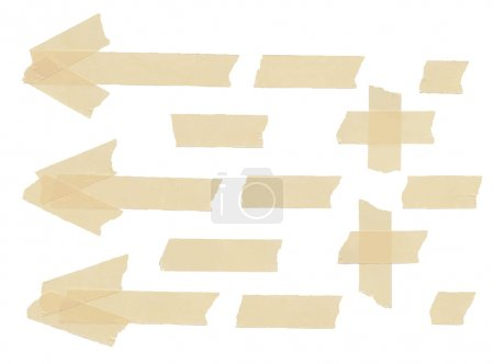 Set of arrows, plus, cross and different size adhesive type pieces. Vector illustration
