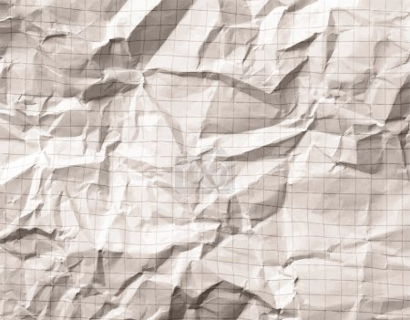 Illustration for Crumpled gray blank math, grid paper background - Royalty Free Image