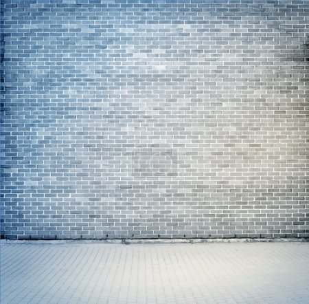 Illustration for Blue, grey brick wall texture with sidewalk. Vector illustration - Royalty Free Image