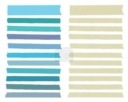Set of colorful horizontal and different size sticky tape,adhesive pieces, menu template  with copy space on white background. Vector illustration
