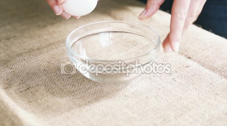 Breaking Eggs For Cooking, Slow Motion