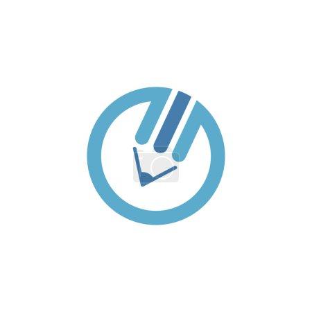 Illustration pour Logo crayon bleu - image libre de droit