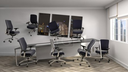 Zero Gravity in office interior. 3D Illustration