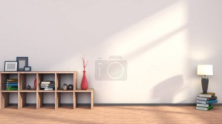 wooden shelf with vases, books and lamp