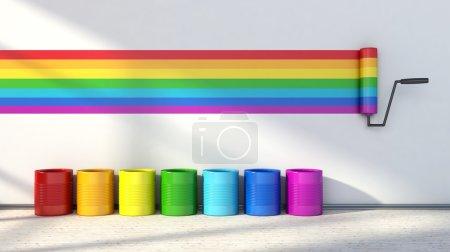 Photo pour Choix de couleurs pour peindre une chambre. couleurs de l'arc-en-ciel - image libre de droit