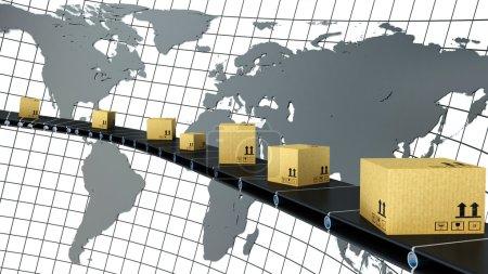 Photo pour Boîtes en carton sont livrées partout dans le monde sur le convoyeur - image libre de droit