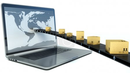 Photo for Delivering packages through a laptop screen. 3D Illustration - Royalty Free Image