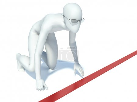 Photo for 3d  man in starting position at starting line. human character ready for race - Royalty Free Image