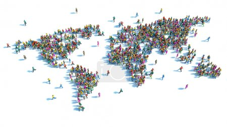Photo for Large group of people standing in the form of a world map - Royalty Free Image