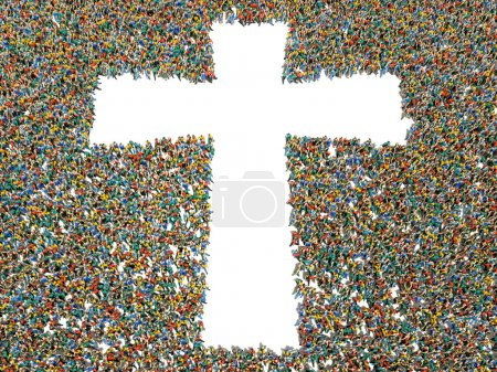People finding Christianity, religion and faith. Large crowd of