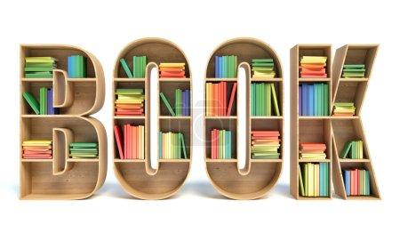 Photo pour Image 3D de livre coloré en étagère en forme de mot de livre - image libre de droit